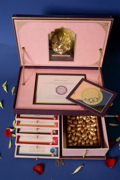 Unique Wedding Invite Box With Cards Ganesha Idol And