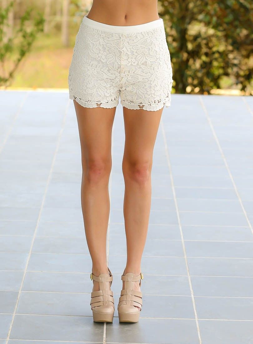 Not Even Concerned Lace Shorts-Ivory - $40.00