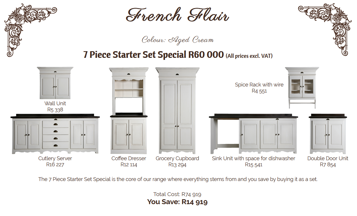 French Flair 7 Piece Starter Set Special In 2020 Kitchen Stand Wall Unit Sink Units