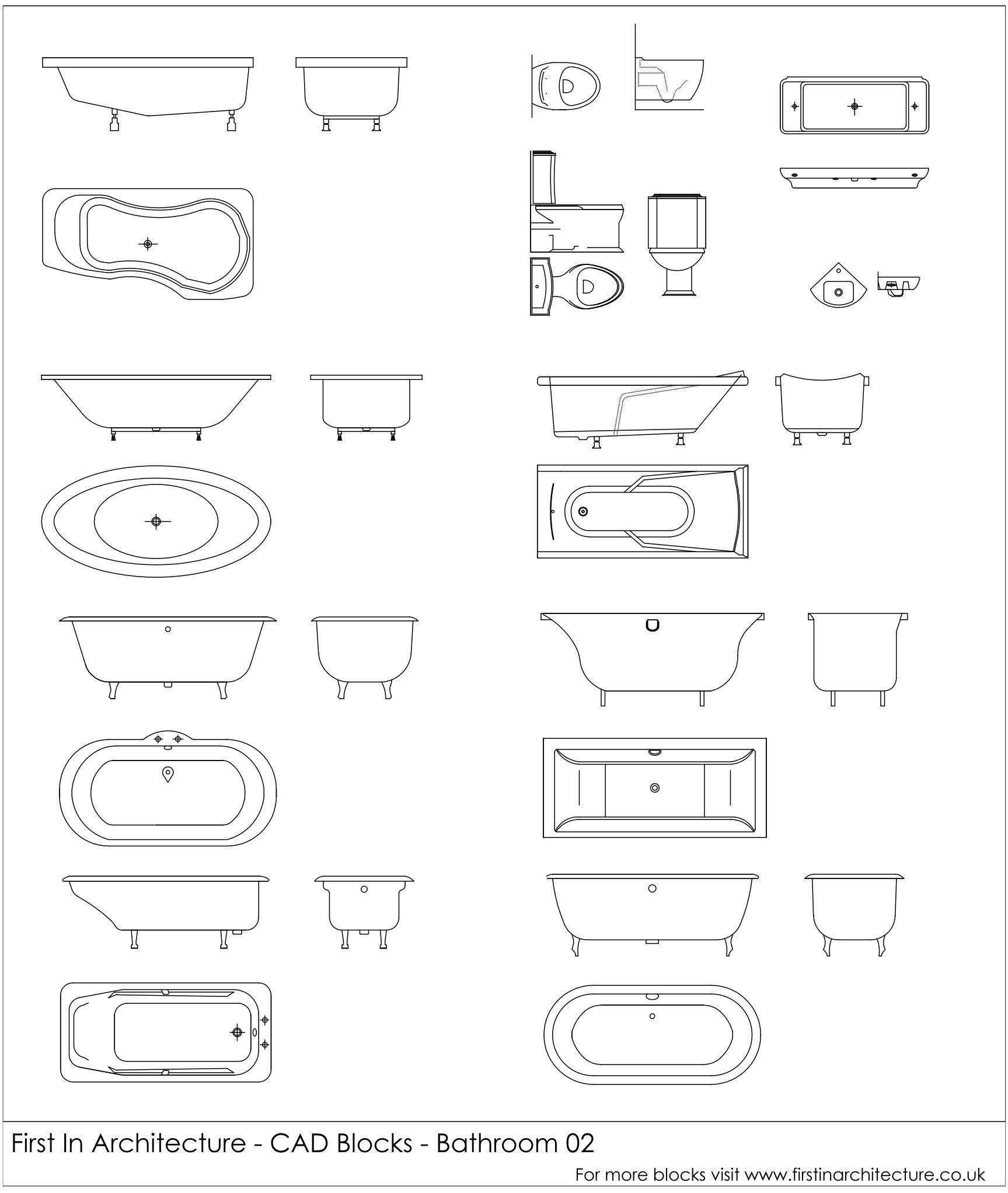Bathroom Layouts Cad free cad blocks – bathroom 02 via @1starchitecture | autocad