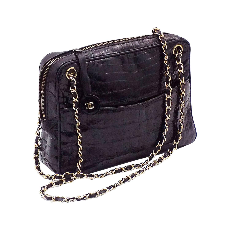 6126af6cba36 Chanel Vintage Crockodile Alligator Black shoulder bag | From a collection  of rare vintage shoulder bags