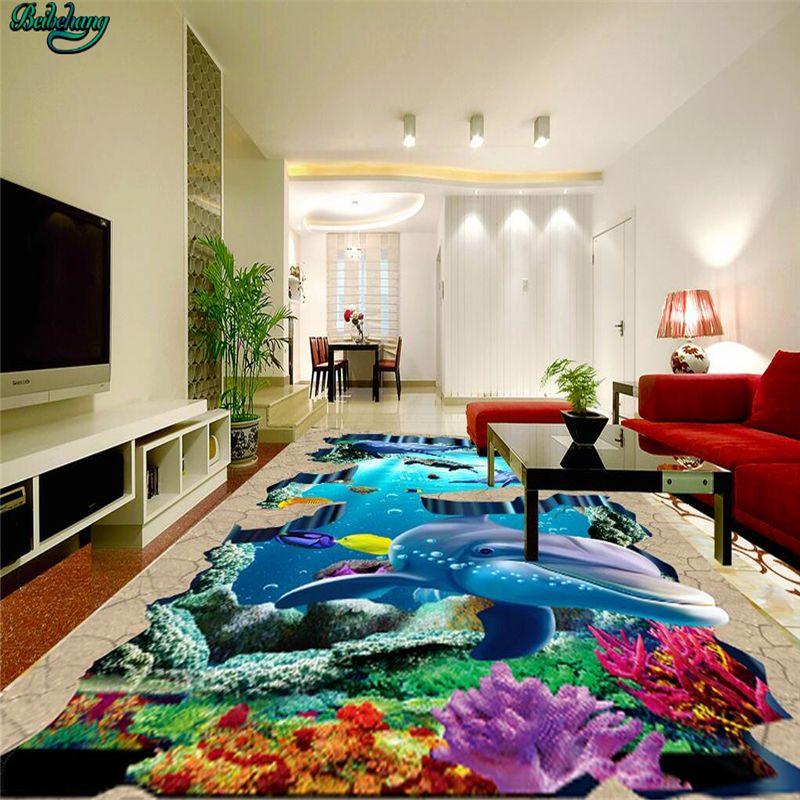 Beibehang Large Custom Underwater World Tropical Fish 3D Floor Tile Living  Room Bedroom Wall Kitchen Bathroom