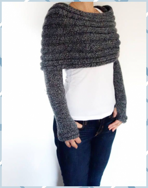 Photo of Shrug Knitting PATTERN – Convertible Scarf with Sleeves/ Wrap Around Thumb Holes…