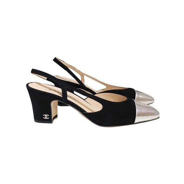 ef2a6011fa1 Chanel Black Silver Two-tone Suede Slingbacks Pumps (€20) ❤ liked on  Polyvore featuring shoes