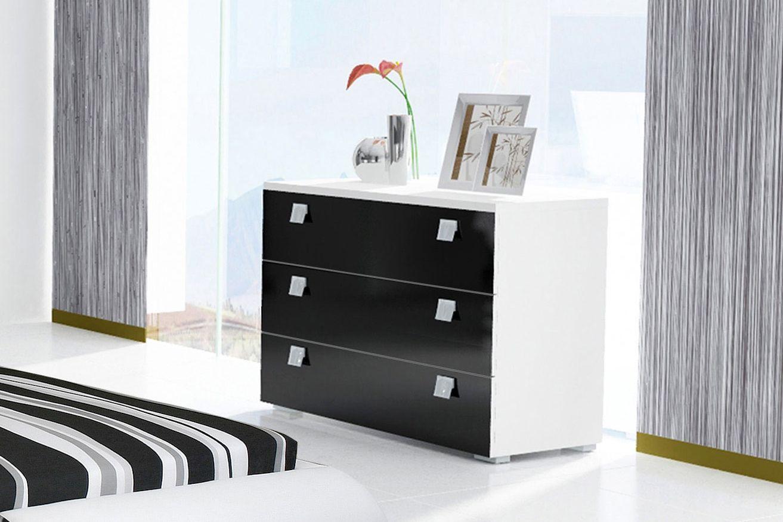 Cómoda de diseño minimalista en color negro con tres cajones ...