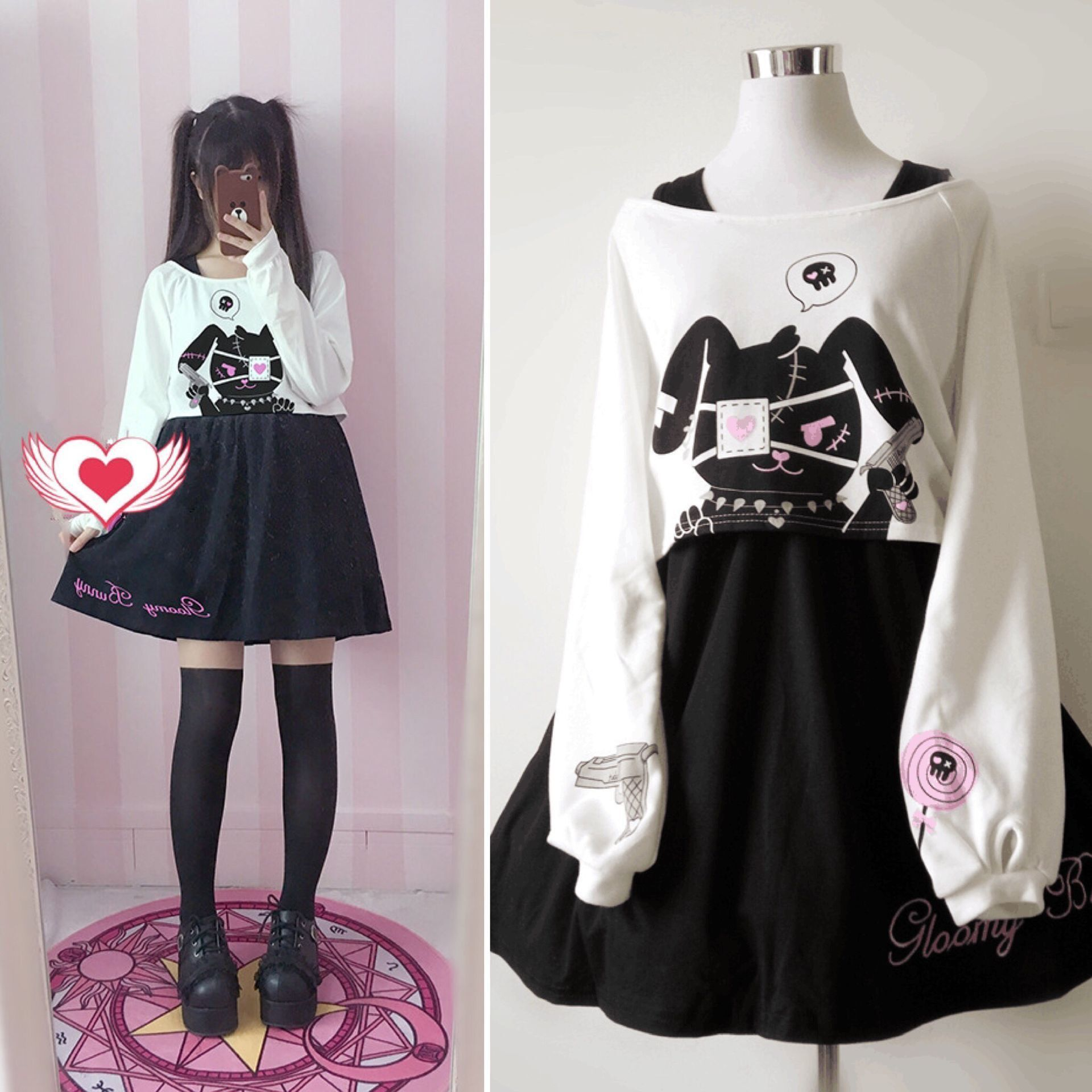 9b853b2561 Cherry And Rabbit Two Sets Sweater Dress YV2094