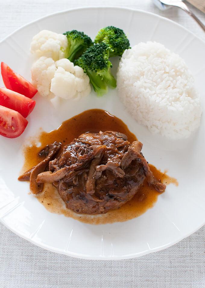 Stewed Hamburg Steak Nikomi Hamburg Recipetin Japan Recipe In 2020 Food Dishes Japanese Hamburger Steak Stew