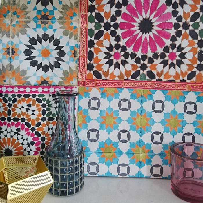 Marrakesh Moroccan Reclaimed Mosaic Tile Wallpaper Pink