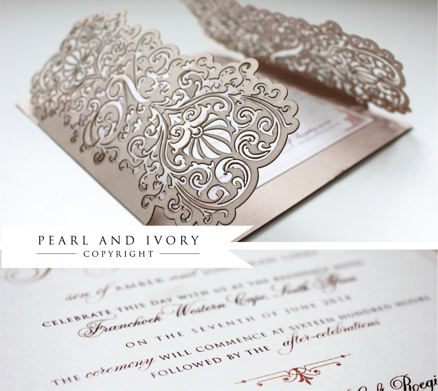A gorgeous blush inspired lasercut wedding invitation by Pearl Ivory ...