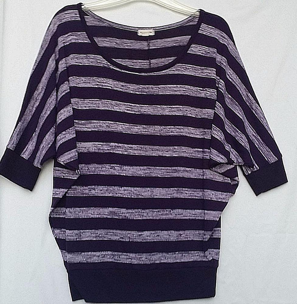 Zenana Outfitters Sweater Large Purple Stripe Women's Tunic Top ...