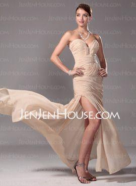 A-Line/Princess Sweetheart Floor-Length Chiffon Charmeuse Prom Dresses With Ruffle (018005251) - JenJenHouse.com