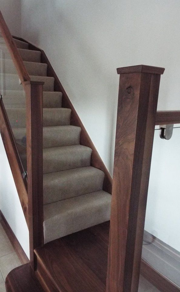 Best Walnut Staircase With Glass Balustrade Walnut And Glass 400 x 300