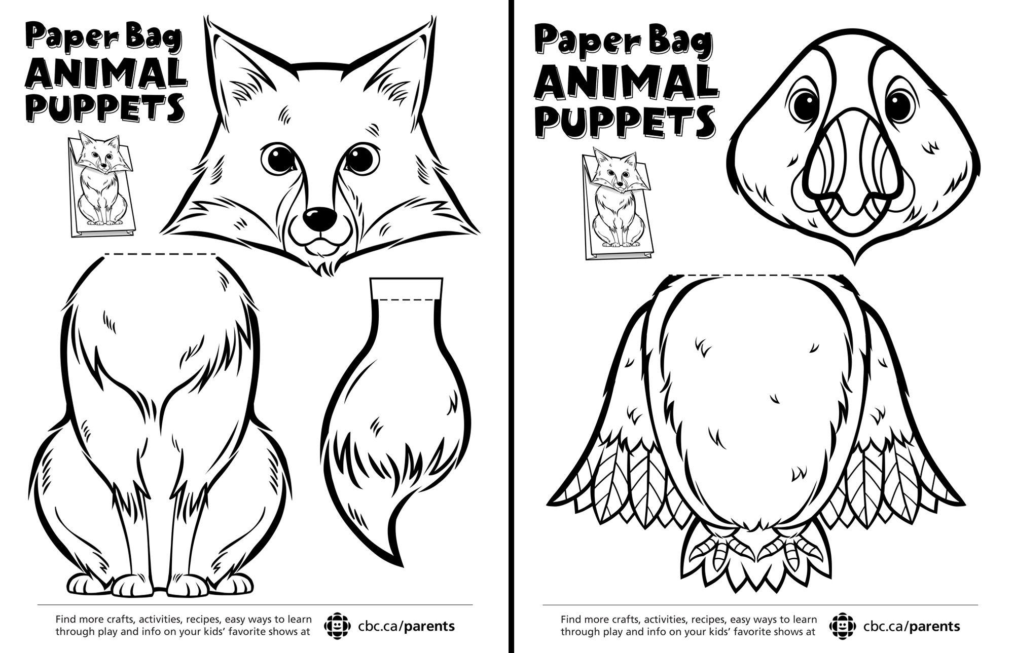 Canadian Animal Paper Bag Puppets | Dibujos para pintar, Escolares y ...
