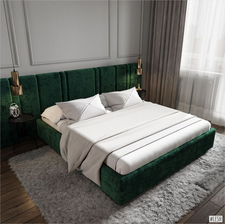 Green Bed In The Bedroom (vanguard Modern Style Classic