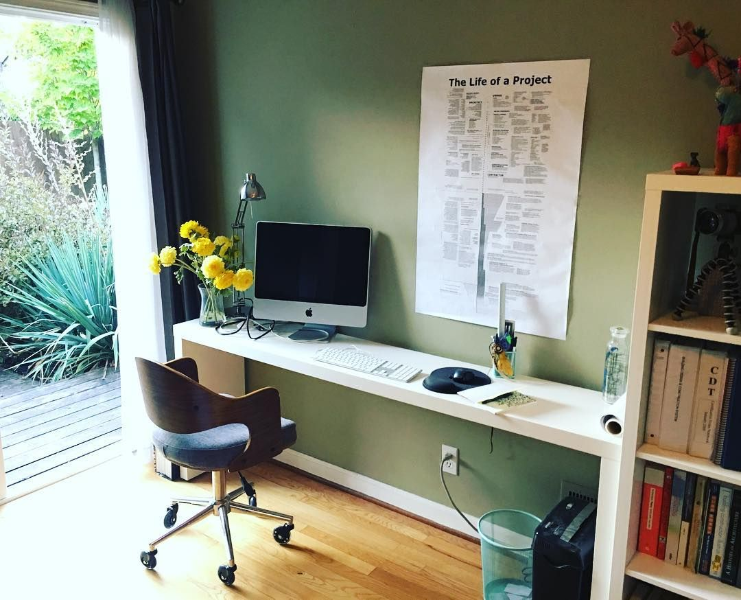 My Home Office Features A Narrow But Long Desk That Works Well With Limited Space One Side F Small Home Office Small Home Office Furniture Home Office Design