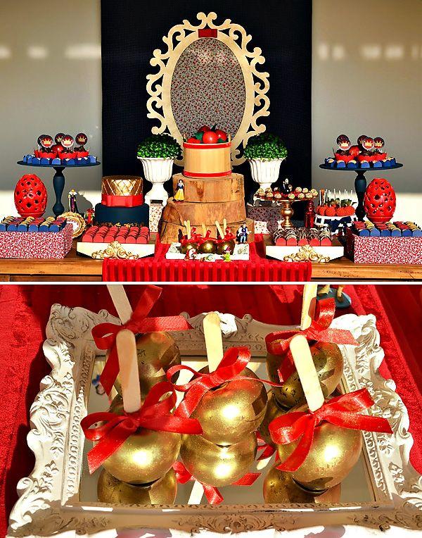 red gold snow white themed dessert table party ideas snow white cake snow white wedding. Black Bedroom Furniture Sets. Home Design Ideas