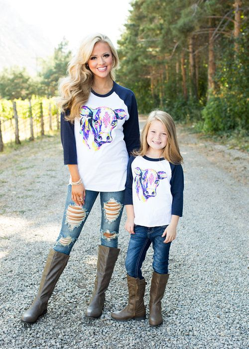58503ca31b9 Boutique, Matching, Mommy and me, Tops, Cow top, online boutique, ryleigh  rue, online shopping, kids clothing