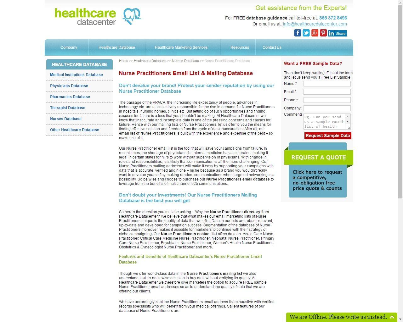 Buy Random Samples Of Nurse Practitioner Mailing Address Lists