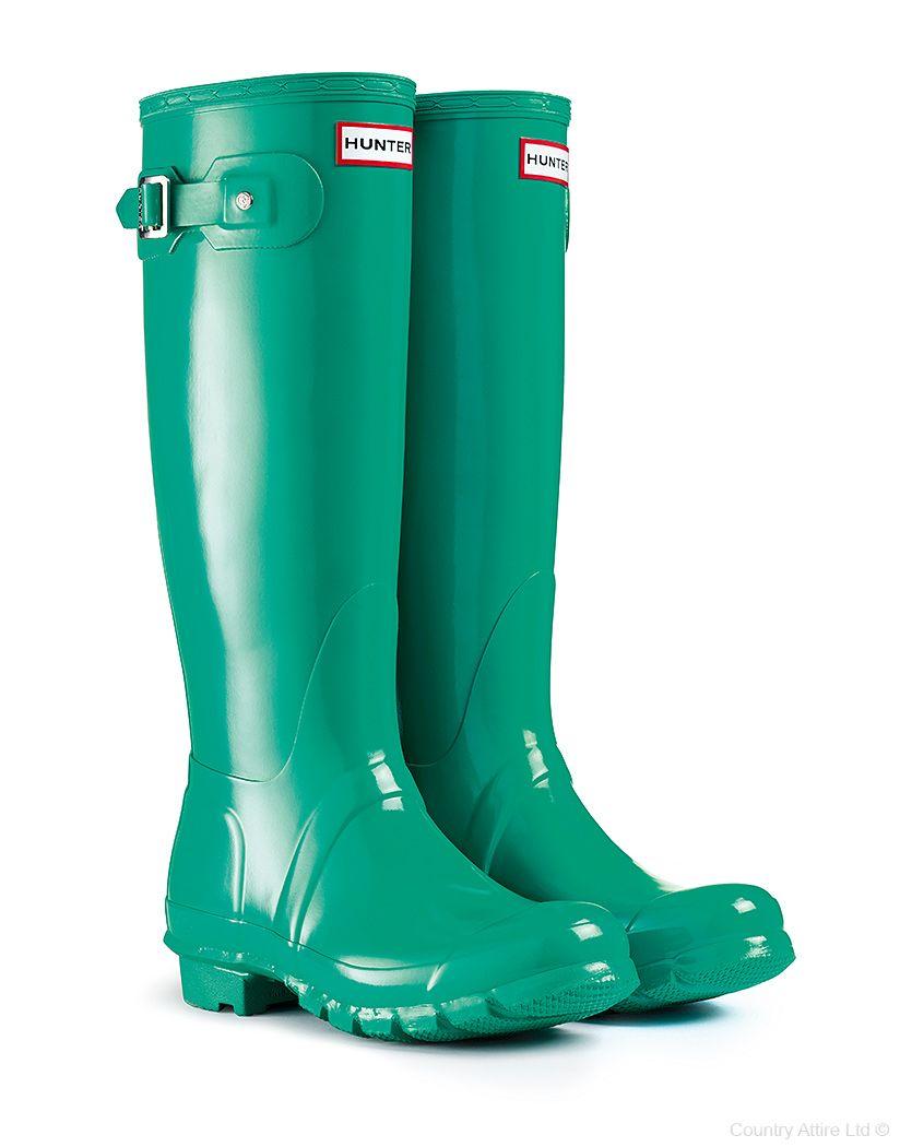 Hunter Original Tall Gloss Wellington Boots – Jade ...