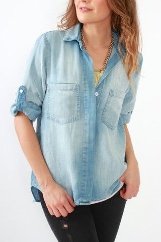 Bella Dahl Split Back Shirt in Light Mist at Viva Diva