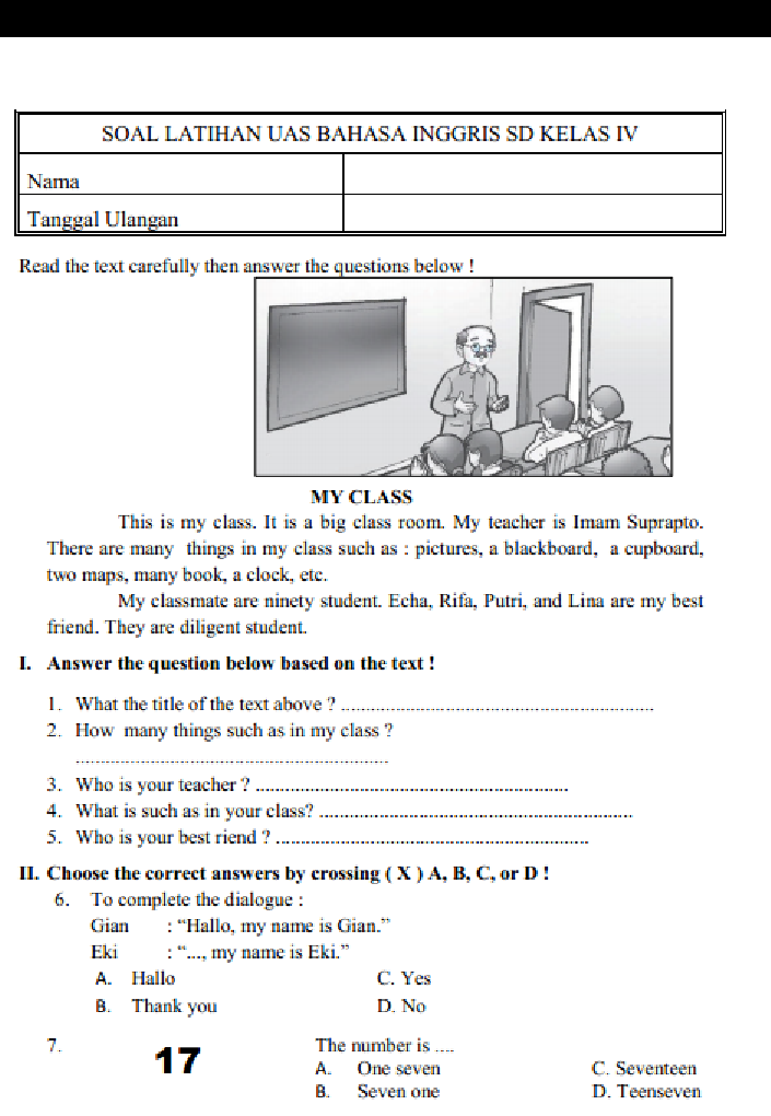10 Soal Bahasa Inggris Beserta Jawabannya