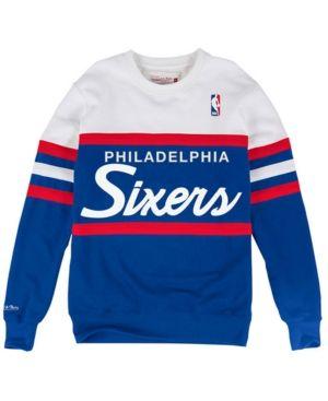 c8926ff18f21c Mitchell   Ness Men s Philadelphia 76ers Head Coach Crew Sweatshirt - Blue  XXL