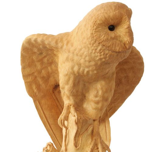 Barn Owl. Hand carved from a single piece of holly wood by award winning wildlife artist, Bill Prickett. Also available as a limited edition bronze.