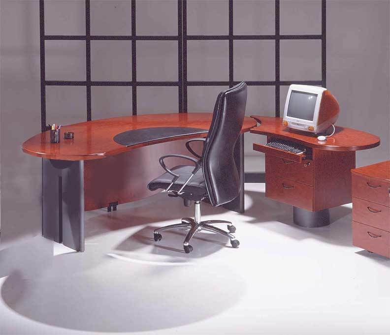 2PC Contemporary Oval Executive Office Desk Set UUTMO2