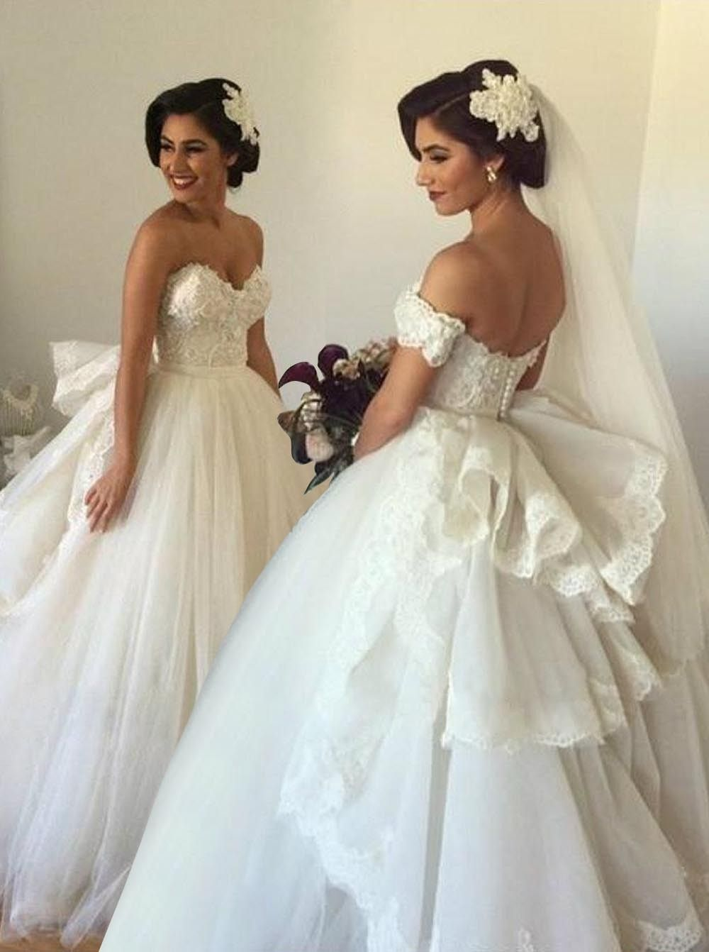 Toll Duchesse Herzausschnitt Off-Schulter Tüll Lang Brautkleid