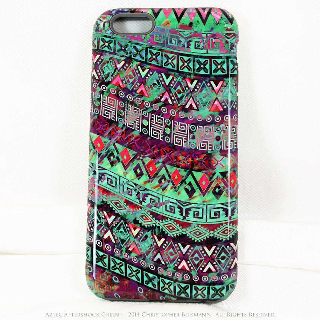 Green Tribal iPhone 6 6s TOUGH Case - Aztec Aftershock Green - Dual Layer Case by Da Vinci Case