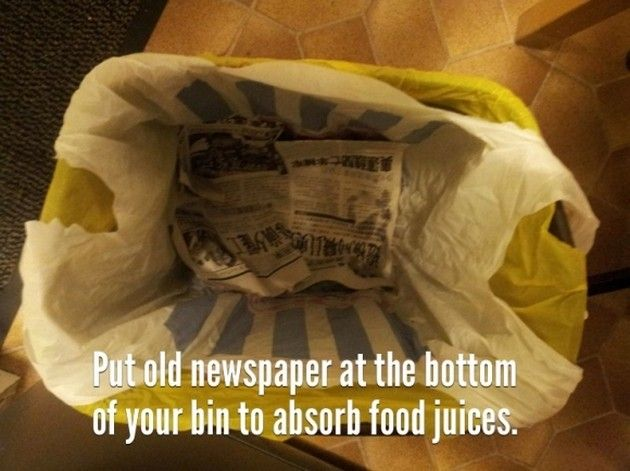 Tip / Trick / Life Hack:  Put newspaper at the bottom of your trash can to absorb food juices.  No more leaks.