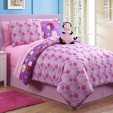 Lady Reversible Comforter Set in Purple