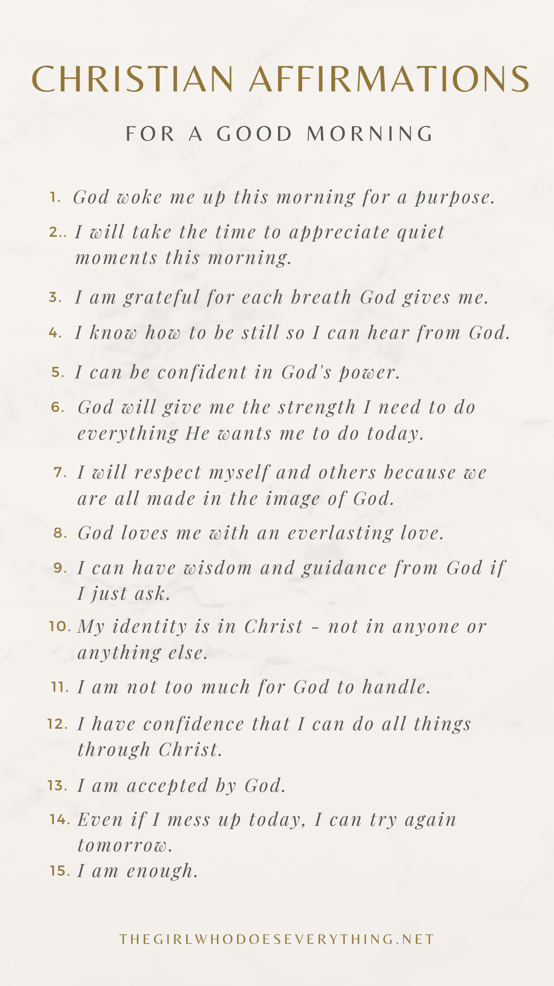 Christian Affirmations for a Good Morning