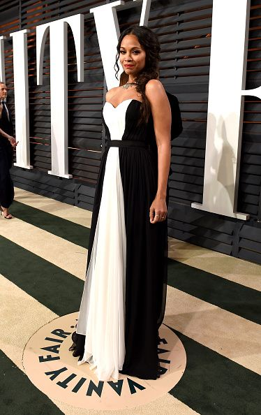 Zoe Saldana attends the 2015 Vanity Fair Oscar Party hosted by Graydon Carter at the Wallis Annenberg Center for the Performing Arts on February 22, 2015 in Beverly Hills, California.
