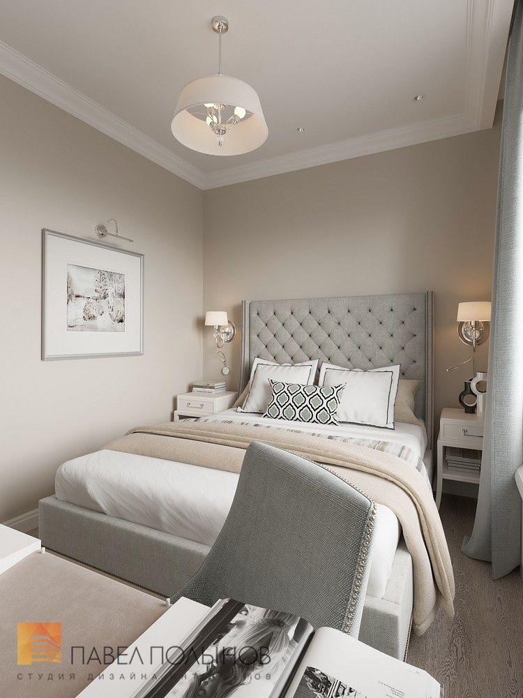 Интерьер спальни в стиле американской неоклассики в ЖК Империал