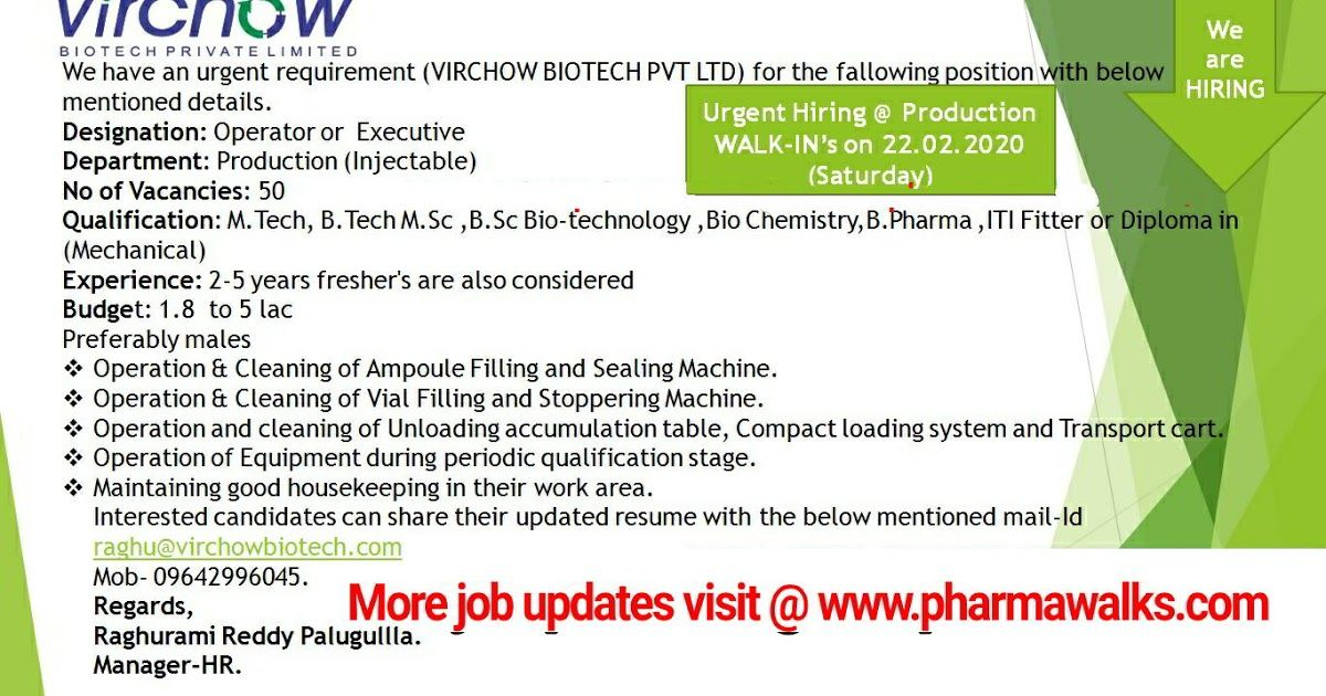 Virchow Biotech walkin interview for Freshers and