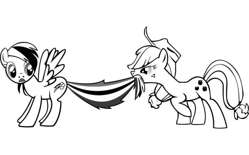 Print Apple Jack And Rainbow Dash My Little Pony Coloring Pages Or