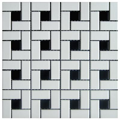 Pinwheel Black White 12 X 12 White Mosaic Tiles White Ceramic Tiles Porcelain Mosaic