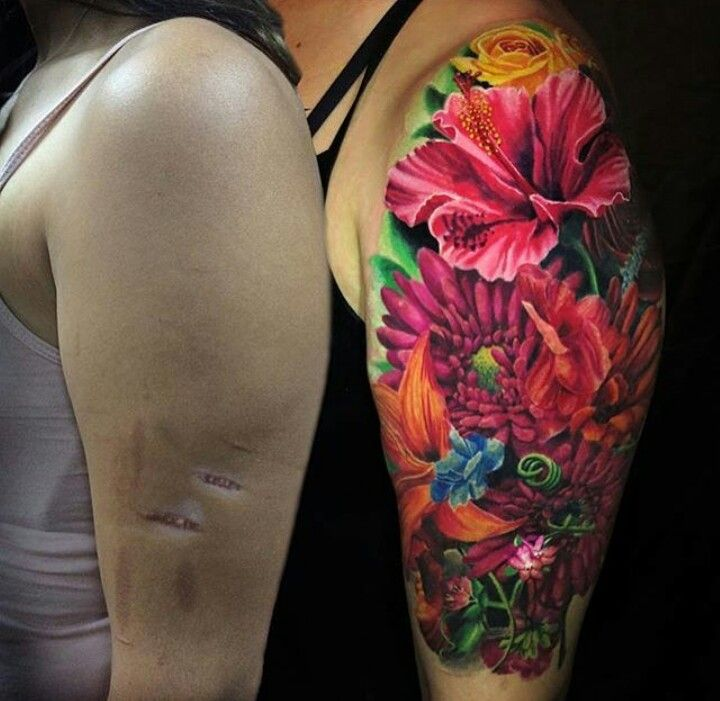 Beautiful Scar Cover Up Love The Colors Arm Cover Up Tattoos Shoulder Cover Up Tattoos Floral Tattoo Sleeve