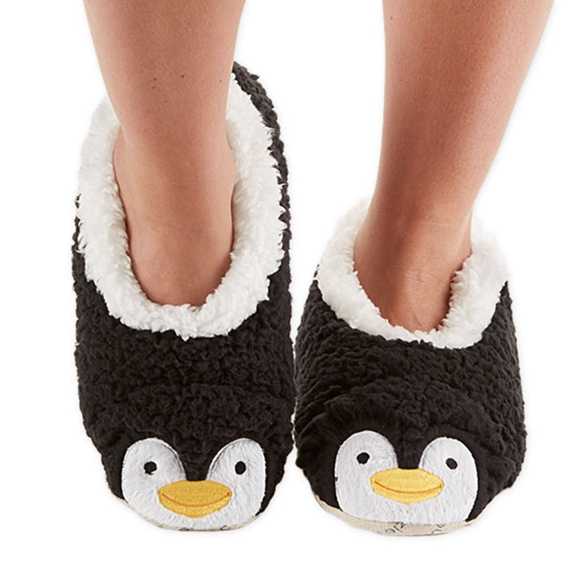 8eb197baa396 Snoozies Womens Animal Heads Sherpa Plush Fleece Lined Footcoverings  Penguin Small