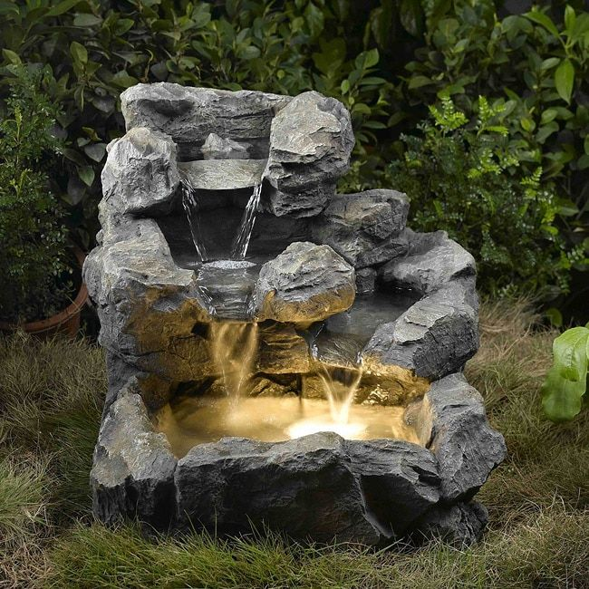 Jeco Rock Creek Illuminated Cascading Water Fountain Blue Outdoor Décor