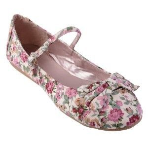 shabby chic pretty floral ballet flats: brinley co womens bow accent mary jane ballet flat