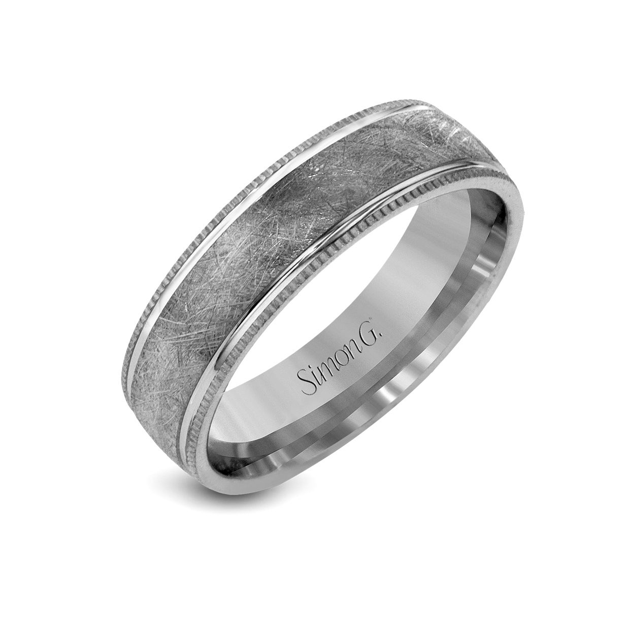 Simon G Matte And Polished Texture Men S Platinum Wedding Band