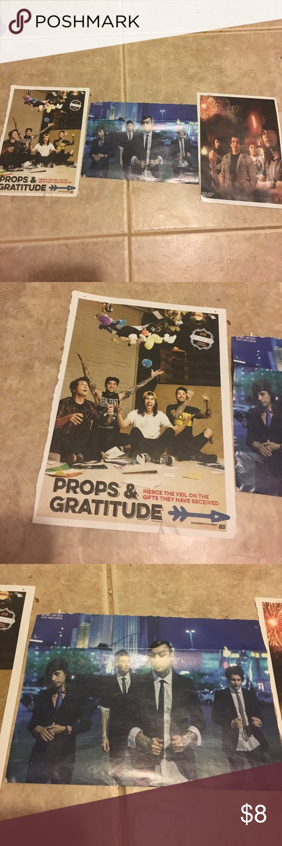 Pierce the veil poster bundle These are from magazines. The front and back. Other