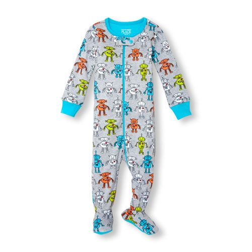 NWT The Childrens Place Boys Dinosaur Blue Footed Stretchie Pajamas Sleeper