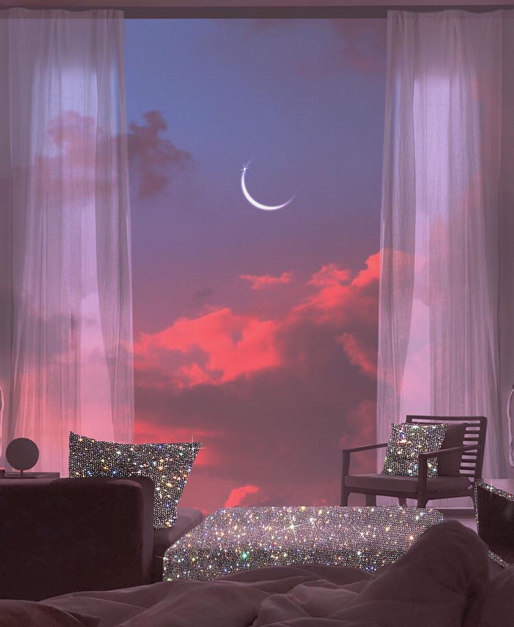 Glitter Dream Dreamhouse Apartment Sunset Moon Clouds