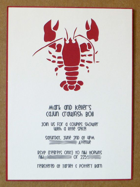 Cajun Crawfish Boil Invitations 20 42 36 Via Etsy Papel