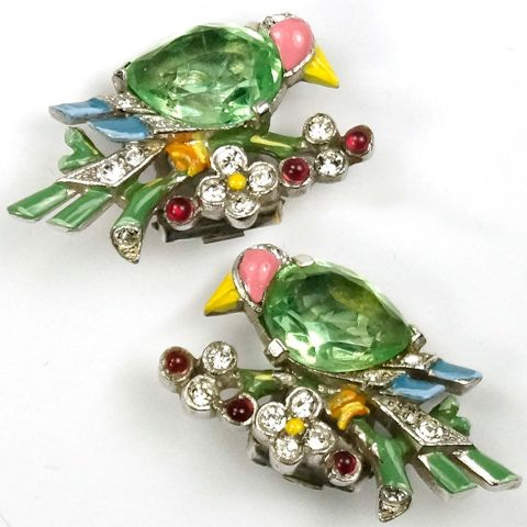 Trifari 'Alfred Philippe' Peridot Pave and Enamel Birds on Branches Clip Earrings