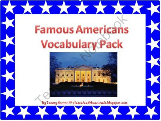 Famous Americans Vocabulary Pack from Please Feed the Animals on TeachersNotebook.com -  (77 pages)
