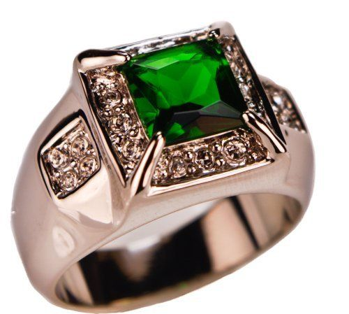 Men's Championship Style 6.5 Total Carat Weight Lab-created Emerald Ring Platinum Overlay Size 11 Sujak Jewelry. $28.75. Smooth & sleek Superior quality Lab Created Emerald Mens CHAMPIONSHIP STYLE ring. Heavy PLATINUM overlay ensures lasting wear and beauty. Size 11